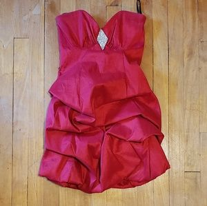 Jessica McClintock Red Rouched Formal Dress